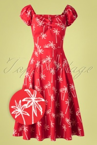 50s Dolores Vintage Palm Doll Dress in Red