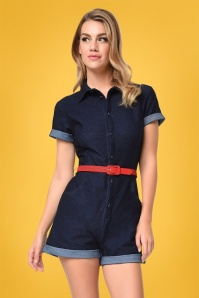 50s Dixie Denim Romper in Dark Blue