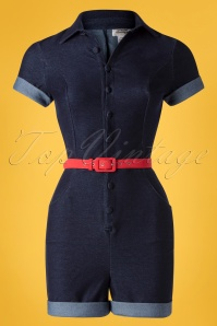 Unique Vintage 27690 Blue Denim Playsuit 20190524 003W