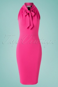 50s Venna Halter Pencil Dress in Hot Pink