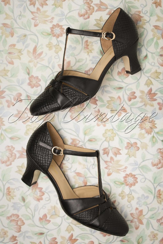 60s Shoes, Boots | 70s Shoes, Platforms, Boots 50s Peta T-Strap Pumps in Black £150.16 AT vintagedancer.com