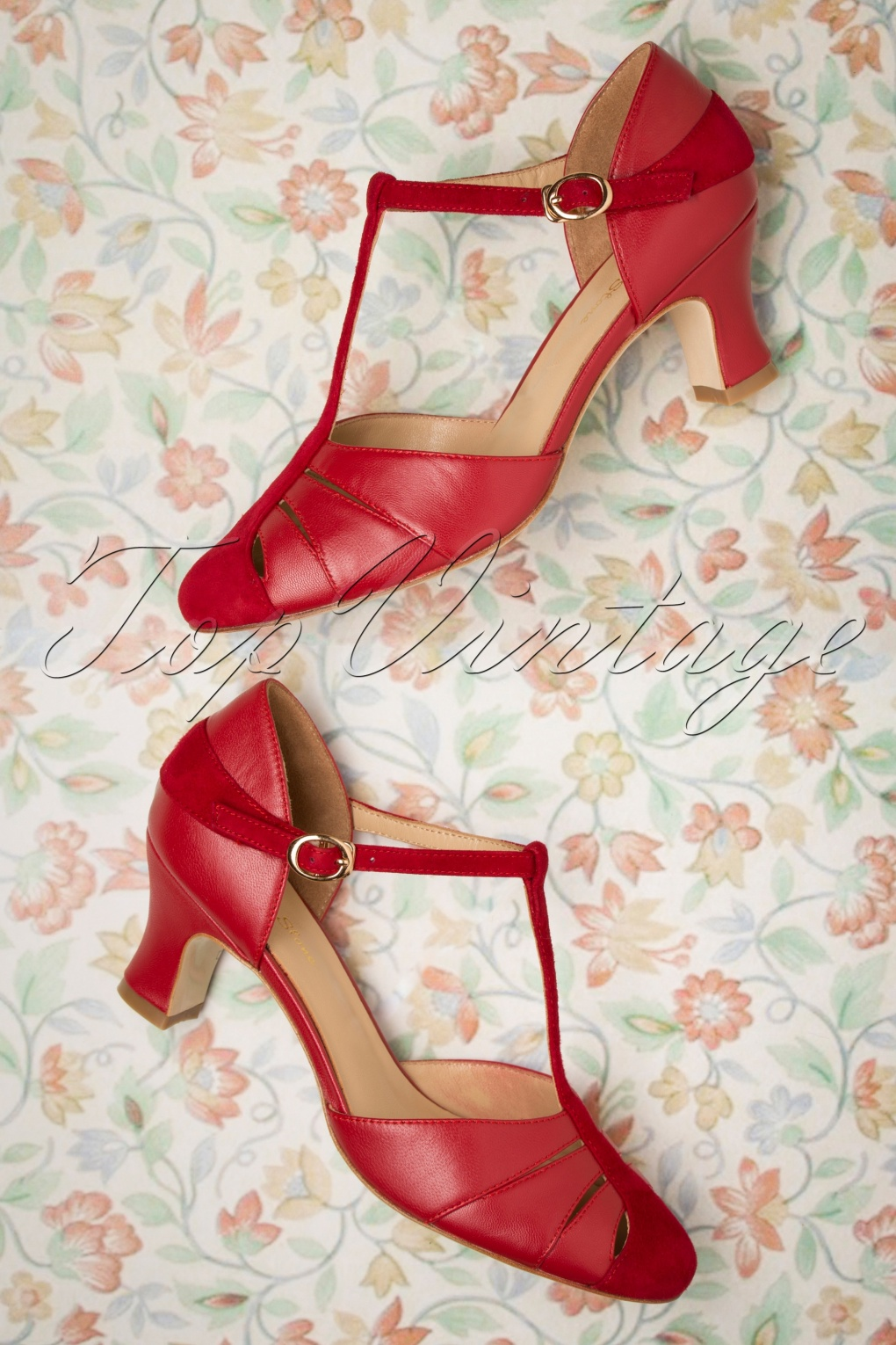 1960s Style Dresses, Clothing, Shoes UK 50s Toscana T-Strap Pumps in Red £148.12 AT vintagedancer.com
