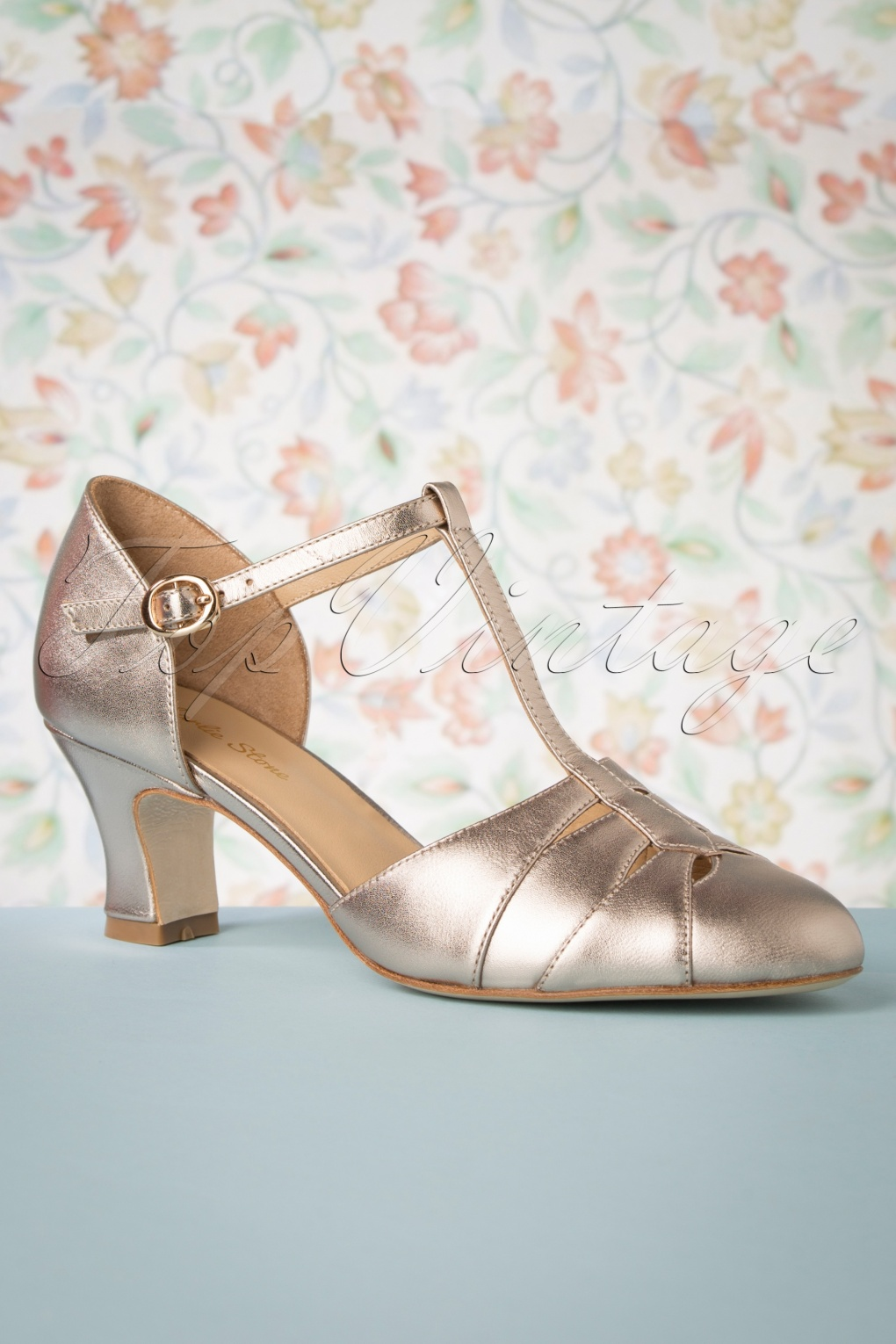 Vintage Style Shoes, Vintage Inspired Shoes 50s Monaco T-Strap Pumps in French Champagne £140.56 AT vintagedancer.com