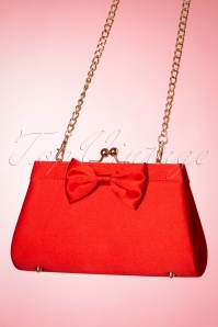 50s Satin Dreams Evening Bag in Red