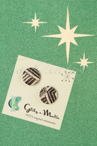 Glitz-o-Matic 50s Rattan Earstuds in Neutral and Black