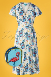 50s Fab Flamingo Wrap Dress in Ivory