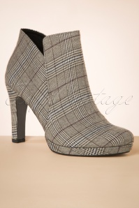Tamaris 50s Tartan Ankle Booties in Taupe