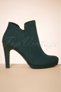 Tamaris 50s Classy Suedine Ankle Booties in Pine Green