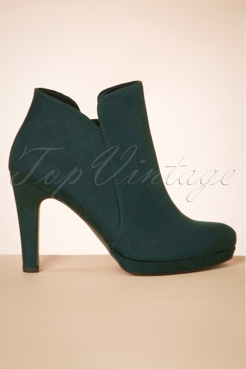 Tamaris 29658 Bottle Ankle Boot Green Blue Suede Heels Boots 20190604 011 W