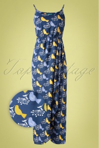 60s Cassie Birds Maxi Dress in Navy