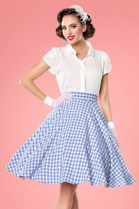 50s Tellerrock Swing Skirt in Blue and White Gingham