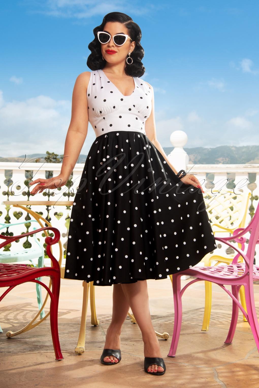 Polka Dot Dresses: 20s, 30s, 40s, 50s, 60s The Esmee Polkadot Swing Dress in Black and White �129.03 AT vintagedancer.com