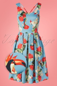 Dolly and Dotty 50s Patricia Parrot Swing Dress in Blue Satin