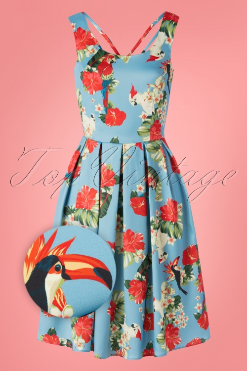 Dolly And Dotty 29166 Swingdress Blue Parrots Floral 20190606 0001Z