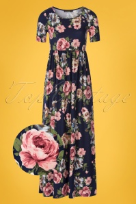 70s Miranda Floral Maxi Dress in Navy Blue