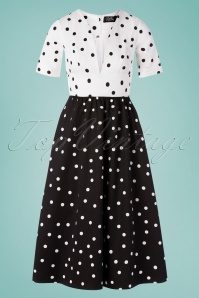 50s Laura Polkadot Swing Dress in Black and White