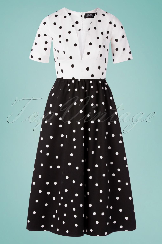 Vintage Polka Dot Dresses – 50s Spotty and Ditsy Prints 50s Laura Polkadot Swing Dress in Black and White £32.74 AT vintagedancer.com