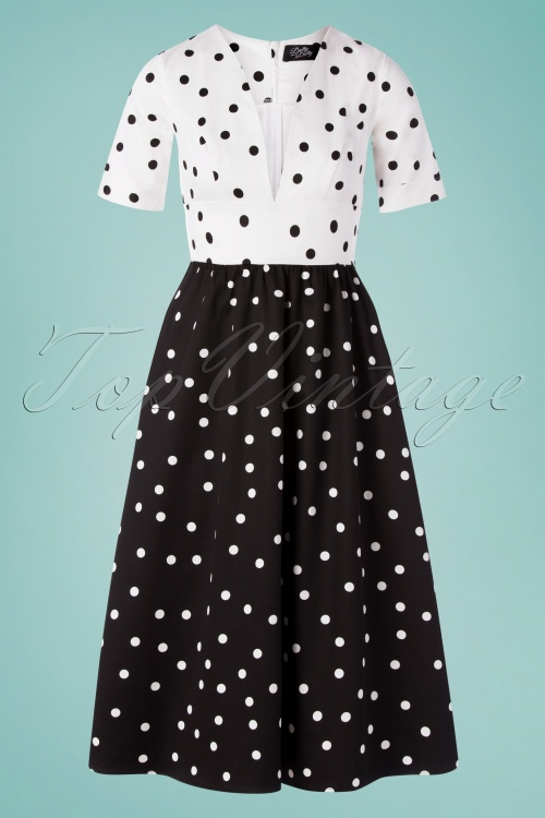 Dolly And Dotty 29148 Swingdress BalckWhite Dots 20190606 0003W