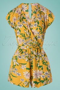 Louche 60s Sidra Floral Playsuit in Yellow