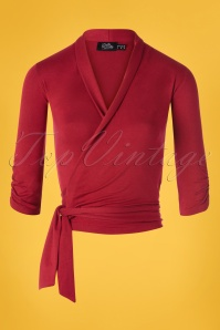 Dolly and Dotty 50s Ceri Wrap Top in Dark Red
