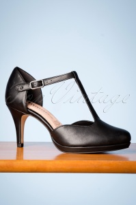 Tamaris 50s Kitty T-Strap Pumps in Black