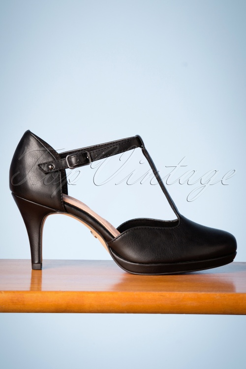 cheap for discount 23950 18950 50s Kitty T-Strap Pumps in Black