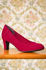 Tamaris 40s Sally Suedine Pumps in Lipstick Red