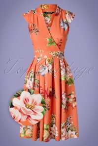 Lady V by Lady Vintage 50s Eva Floral Swing Dress in Tangerine Dream
