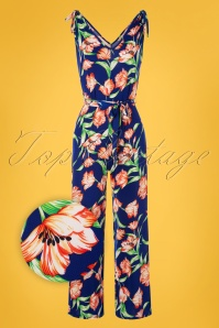 Vintage Chic for TopVintage 50s Sophy Floral Jumpsuit in Royal Blue