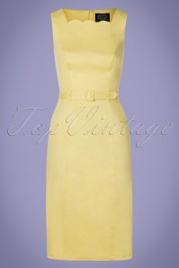 Hearts & Roses 50s Gabriella Wiggle Dress in Pastel Yellow