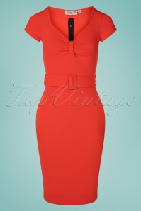 Susannah Pencil Dress Années 50 en Orange Fiesta