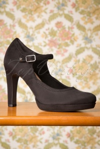 Tamaris 50s Suzie Suedine Pumps in Black