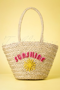 50s Sunshine Straw Beachbag in Neutral