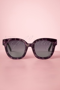 Louche 50s Tortoise and Glitter Sunglasses in Purple