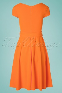 Vintage Chic 30526 Short Sleeve Orange Dress 20190614 006W