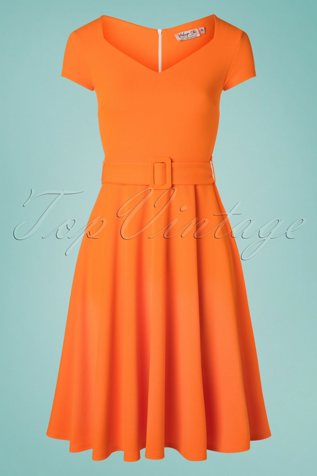 1960s Style Dresses, Clothing, Shoes UK 50s Myrtle Swing Dress in Orange £34.67 AT vintagedancer.com