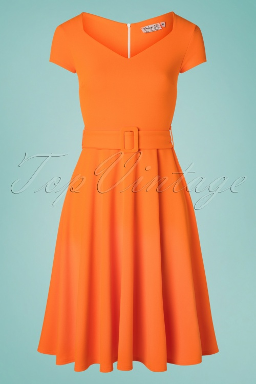 Vintage Chic 30526 Short Sleeve Orange Dress 20190614 003W