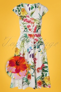 Vintage Chic for TopVintage 50s Mae Floral Swing Dress in Ivory