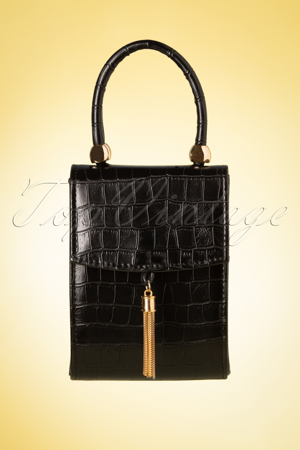 1950s Handbags, Purses, and Evening Bag Styles 50s Croco Love Evening Bag in Black �26.89 AT vintagedancer.com