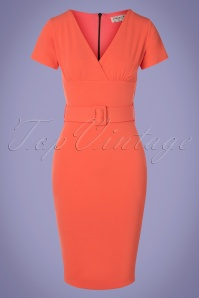 50s Corine Pencil Dress in Coral