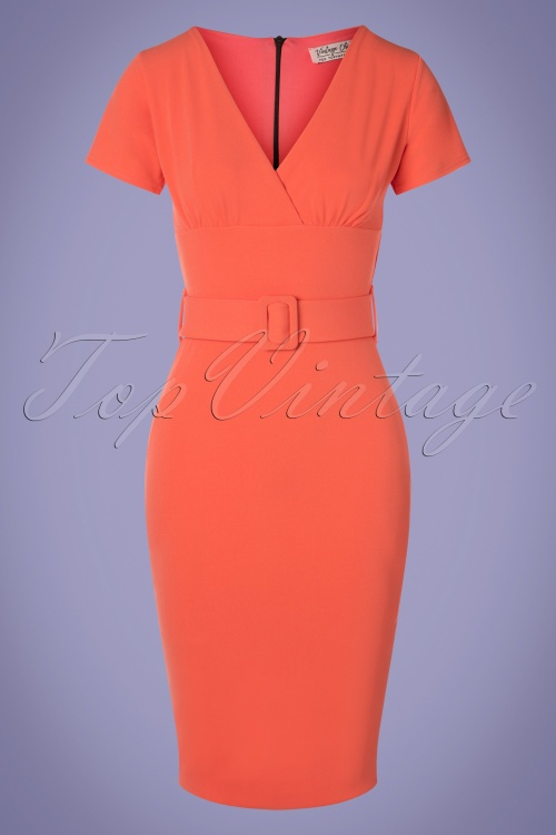 Vintage Chic 30522 Short Sleeve Coral Dress 20190614 005W