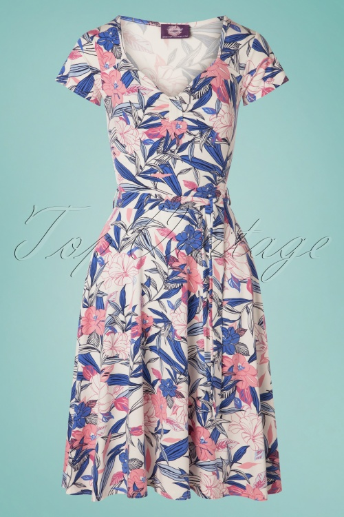 TopVintage Boutique Collection 30799 50s Fabienne Floral Dress 20190614 003W