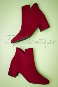 Tamaris 60s Megan Ankle Booties in Lipstick Red