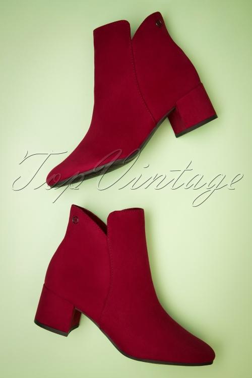 Tamaris 29659 Lipstick Ankle Heels Bootie Boot Red Suede 20190614 028 W