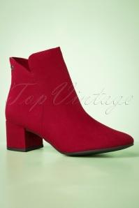 Tamaris 29659 Lipstick Ankle Heels Bootie Boot Red Suede 20190614 011 W