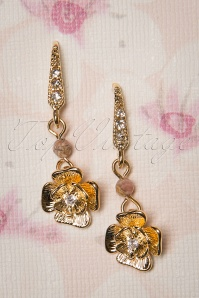 50s Rhodochrosite Rose Drop Earrings in Gold Plated