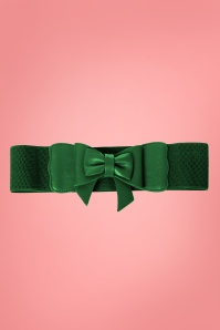 Banned Retro 50s Play It Right Bow Belt in Bottle Green