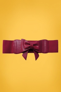 Banned Retro 50s Play It Right Bow Belt in Burgundy