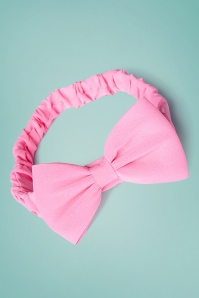 Dionne Bow Head Band Années 50 en Rose Vif