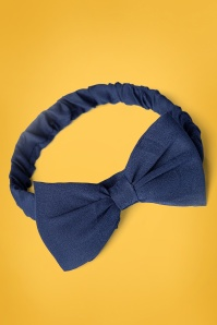 Banned Retro 50s Dionne Bow Head Band in Navy